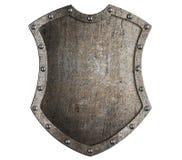 Belägga med metall den högväxta skölden för den medeltida skölden eller vapenskölden isolerade illustrationen 3d vektor illustrationer