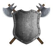 Belägga med metall den medeltida heraldiska skölden med den korsade illustrationen för stridyxor 3d vektor illustrationer