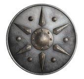 Belägga med metall den medeltida runda skölden som isoleras på den vita illustrationen 3d royaltyfri illustrationer