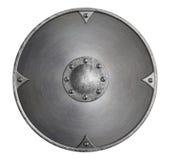 Belägga med metall den medeltida viking rundaskölden som isoleras på den vita illustrationen 3d Royaltyfri Fotografi