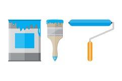 Belägga med metall den tenn- canen med målarfärg, rullen och målarpenseln Arkivfoto