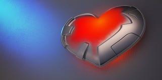 Belägga med metall hjärta royaltyfri illustrationer