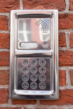 Belägga med metall på-dörren speakerphonen Arkivbild