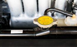 Belägga med metall räkningen på ett element för att kyla för motor arkivbild