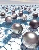 Belägga med metall sfärer på ett iskallt landskap - sciencebakgrund arkivbild