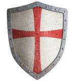 Belägga med metall skölden av den medeltida templar eller för korsfararen 3d illustrationen stock illustrationer