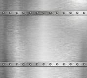 Belägga med metall stålbakgrund med illustrationen för nitar 3d royaltyfri illustrationer