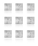 Belägga med metall stilsorten knäppas J - R Stock Illustrationer