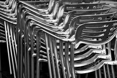 Belägga med metall stolar royaltyfria foton