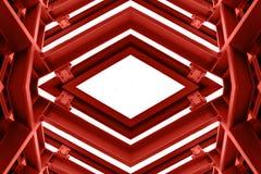 Belägga med metall strukturen som är liknande till rymdskeppinre i röd signal royaltyfria foton