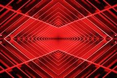 Belägga med metall strukturen som är liknande till rymdskeppinre i rött ljus arkivbilder