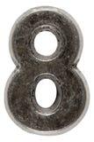 Belägga med metall tal 8 åtta, isolerat på vit bakgrund, med gemet arkivfoto