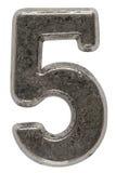 Belägga med metall tal 5 fem, isolerat på vit bakgrund, med clippin arkivbild