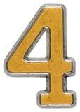 Belägga med metall tal 4 fyra, isolerat på vit bakgrund royaltyfri fotografi