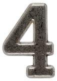 Belägga med metall tal 4 fyra, isolerat på vit bakgrund, med clippin royaltyfri foto