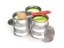 Belägga med metall tenn- cans med grön målarfärg och målarpenseln stock illustrationer