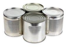 Belägga med metall tins av mat arkivfoto