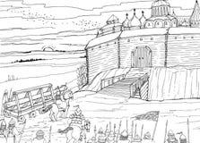 Belägring av de slaviska fästningnomaderna royaltyfri illustrationer