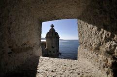 Belém塔的枪空缺数目,里斯本 免版税库存照片