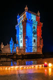 Belém Tower with the colors of the flag of France. Belém Tower in Lisbon, the capital of Portugal, with the colors of the flag of France like sample of Royalty Free Stock Image