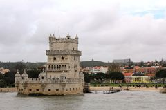 The Belem Tower or the Tower of St Vincent in Lisbon, Portugal. The Belém Tower Torre de Belém, a military outpost built to protect the Tagus Estuary from royalty free stock images