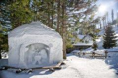 Belén de la nieve en altas montañas de los tatras, Eslovaquia Imagen de archivo