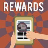 Belöningar för ordhandstiltext Affärsidé för givet i erkännande av den tjänste- gåvan för försöksprestationpris royaltyfri illustrationer