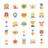 Belöningar och medaljer sänker symbolsuppsättningen royaltyfri illustrationer