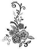 Bel élément floral. Fleurs noires et blanches   Images libres de droits