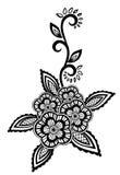 Bel élément floral. Les fleurs et les feuilles noires et blanches conçoivent l'élément avec la broderie d'imitation de guipure. Photo stock