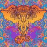 Bel éléphant tribal tiré par la main de style au-dessus de mandala Colorfu illustration de vecteur