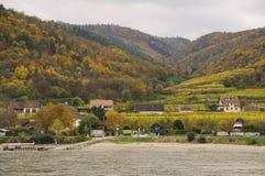 Bel élevage de vin en automne autour de ville de Durnstein, Autriche Photographie stock libre de droits