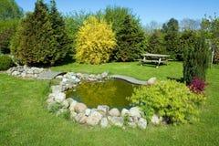 Bel étang de poissons classique de jardin photos stock