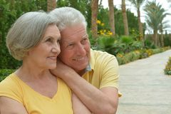Bel étreindre supérieur heureux de couples Images libres de droits