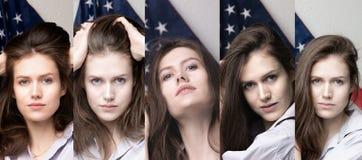 Bel étudiant avec le drapeau des Etats-Unis d'Amérique image stock