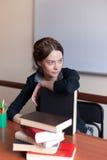 Bel étudiant féminin avec des livres Photographie stock