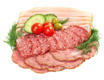 Bel agencement découpé en tranches de nourriture Images stock