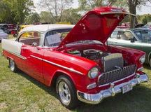 Bel Air rosso 1955 di Chevy di bianco Fotografia Stock