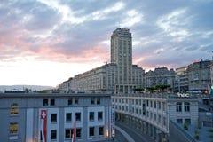 Bel-Air torn i Lausanne Arkivfoton