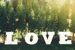 Bel amour blanc de luxe de signe avec de grandes lettres sur le backgro Photos libres de droits