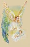 Bel ange avec des ailes volant au-dessus de l'enfant, illustration d'aquarelle Images stock