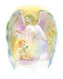 Bel ange avec des ailes volant au-dessus de l'enfant, illustration d'aquarelle Photographie stock libre de droits