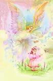 Bel ange avec des ailes volant au-dessus de l'enfant, illustration d'aquarelle Photos libres de droits