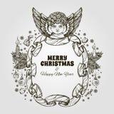 Bel ange avec le cadre fait en ruban Élément décoratif de conception cartes de voeux pour de Noël et de nouvelle année Images stock