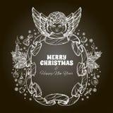 Bel ange avec un cadre fait en ruban Élément décoratif de conception cartes de voeux pour de Noël et de nouvelle année Photo stock