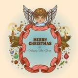 Bel ange avec un cadre fait en ruban Élément décoratif de conception cartes de voeux pour de Noël et de nouvelle année Photo libre de droits