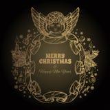 Bel ange avec un cadre fait en ruban Élément décoratif de conception cartes de voeux pour de Noël et de nouvelle année Photographie stock libre de droits
