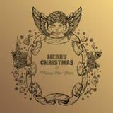 Bel ange avec un cadre fait en ruban Élément décoratif de conception cartes de voeux pour de Noël et de nouvelle année Photos stock