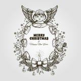 Bel ange avec un cadre fait en ruban Élément décoratif de conception cartes de voeux pour de Noël et de nouvelle année Images stock
