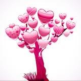 Bel arbre avec une tête des coeurs brillants. illustration de vecteur
